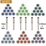 BUYGOO 66PCS Schleifwerkzeug Set für Polieren, 60x Feinschleifbürste Radial Bürsten Schleifbürste Dremel mit Körnung 80/120/220/400/600/1000 Grit, 3x 2.35mm Spanndorn Adapter, 3x 3mm Spanndorn Adapter