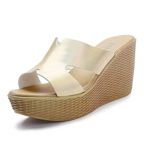 mode wedges Sandales femme et chaussons/Sandales à talons hauts sexy durant l'été/HMots cool pantoufles/ porter la plateforme sandales A