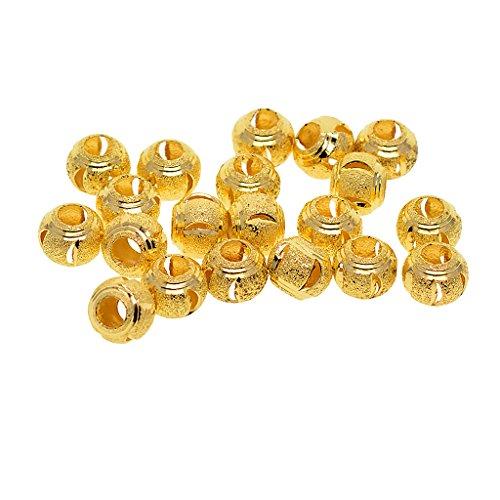 Baoblaze 20 Stück Messing Perlen, Perlen Zum auffädeln Bastelperlen, Basteln Perlen Schmuckperlen mit Loch - Gold