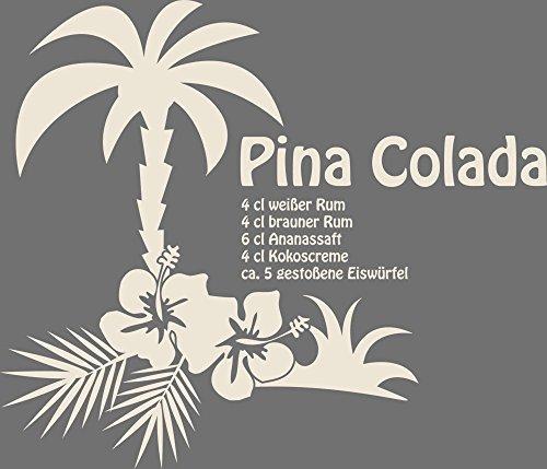 GRAZDesign 620299_30_816 Wandtattoo Rezept Cocktail Pina Colada für Küchen-Wand | Küchen-Sprüche für Küchenrückwand | Wandsticker aus Markenfolie - Auch für Esszimmer (35x30cm//816 Antique White)
