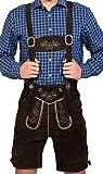 Almwerk Herren Trachten Lederhose kurz Modell Sepp in schwarz, braun und Hellbraun, Farbe:Braun;Größe Herren:56