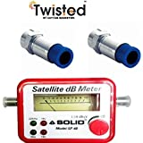Twisted Satellite Signal Finder Db Meter for Full,Hd Dish T.V Network Setting with Two Rg6 Compression Connectors