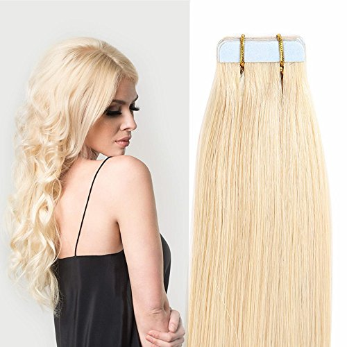Tape in extension capelli veri adesive - 45cm 50g 20fasce #613 bleach blonde - 100% remy human hair capelli lisci naturali