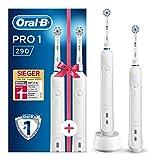 Oral-B PRO 1 290 Elektrische Zahnbürste mit 2. Handstück, für eine sanfte Reinigung bei empfindlichem Zahnfleisch, weiß