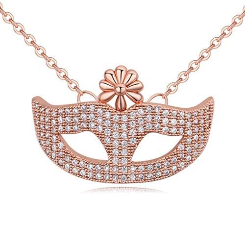 (WUFANGFF Zirkon Halskette Damen Schmuck Cartoon Charakter Modellierung Minimalistische Mode, Rose Gold)