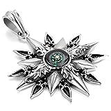 JewelryWe Schmuck Herren Halskette mit Sonnen Kompass Anhänger; Edelstahl; 55cm Kette; Silber Schwarz