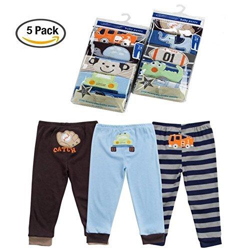 Baby Jungen 5 Pack Neugeborenen zu Toddler Baumwolle Long Cartoon Hosen Geschenk-Set 12-18M (Carters Baby Boy Newborn-sets)