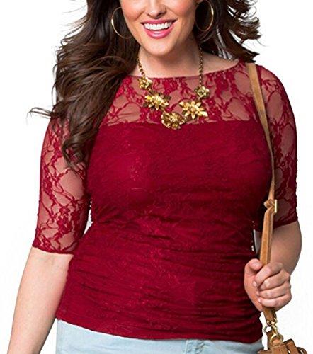 Brinny Plus Size Blusen Damen tShirt Rundhals 3/4 Arm Spitze Übergrößen  Elastisch Top Weinrot