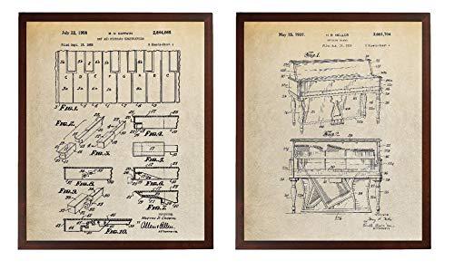 Turnip Designs TDP1177 Klaviertasten und Tastatur mit Patentdrucken, Pianoblock, als Geschenk für Piano, Musik-Deko, Wandkunst -