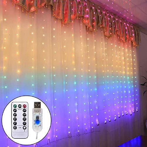 LED Lichtervorhang 1.5 x 2Meters, Etmury 210 LED USB Lichterkettenvorhang mit 8 Modi für Party Deko Schlafzimmer, Innenbeleuchtung, Weihnachten, Außen,Regenbogenfarbe