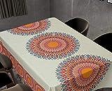 QWEASDZX Manteles Estilo Nacional Sencillo y Fresco Anti incrustante Mantel Antimanchas Lavable Adecuado para Uso en Interiores y Exteriores 150X150 cm