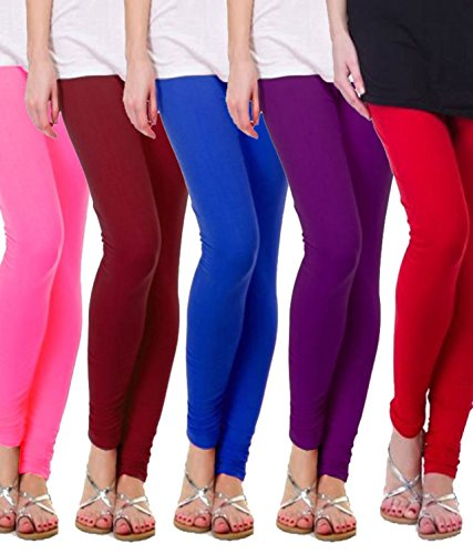 M.G.R.J Women\'s Cotton Lycra Churidar Leggings Combo (Pack of 5 Blue, Purple, Brown, Pink, Red ) - Free Size