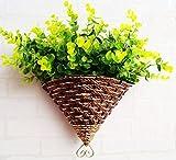 Escena aplicable: flor colgante de paredClasificación de color: verde, púrpura, blanco, amarilloEstilo: PastoralEspecie de hierbas: HíbridoTipo de flor artificial: florForma de combinación: trajeTamaño: 34 * 24 cm