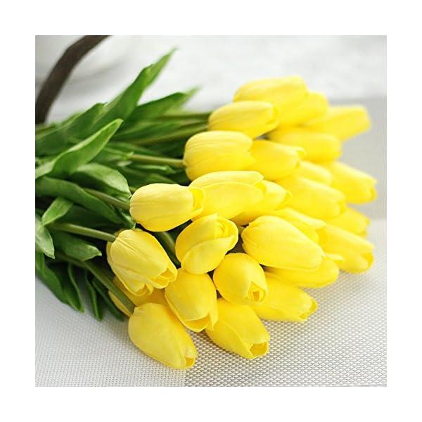 Xueliee Ramo de flores artificiales de seda de tulipán de tacto real, ramo de boda para decoración floral para el hogar…