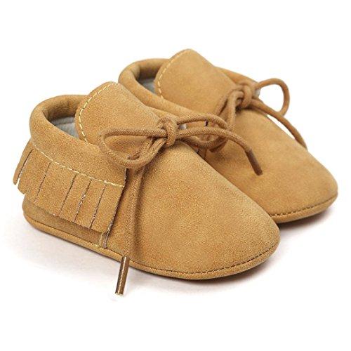 Saingace Krabbelschuhe,Baby-Krippe-Troddel-Verband-weiche Sole-Schuh-Kleinkind-Turnschuhe beiläufige Schuhe Gelb