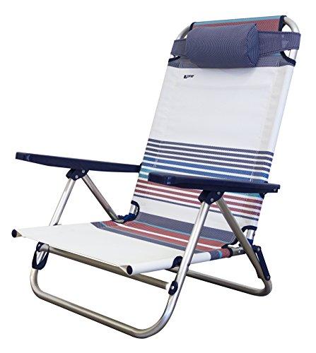Spiaggina vintage ribaltabile | pieghevole, portatile per mare, piscina, giardino, campeggio | sedia sdraio da spiaggia richiudibile struttura in alluminio e textilene con tasca portaoggetti | dimensioni 48,5x60x83,5(h)cm