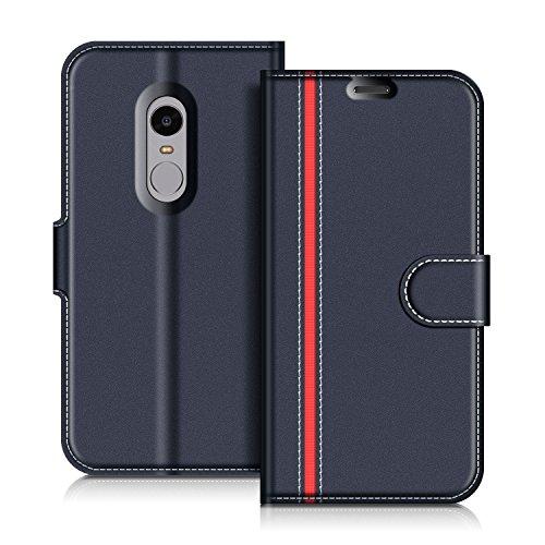 COODIO Handyhülle für Xiaomi Redmi Note 4 Handy Hülle, Xiaomi Redmi Note 4 Hülle Leder Handytasche für Xiaomi Redmi Note 4 Klapphülle Tasche, Dunkel Blau/Rot