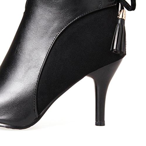 OALEEN Bottines femme hiver bout pointu talon haut pompons aspect cuir chaussures boots Noir