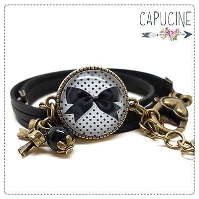 Bracelet 3 Tours Noir Noeud et Pois avec Cabochon Verre, Breloque et Perle en Jade, Métal Bronze, Simili Cuir, Ajustable