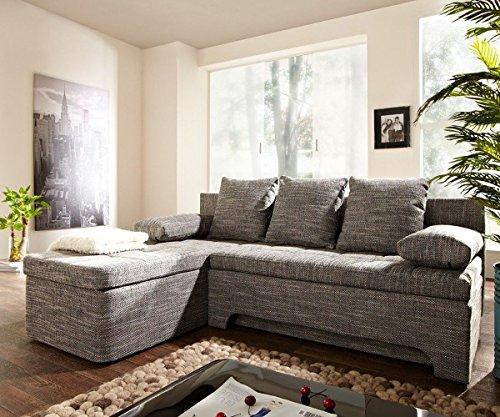 Couch Juline Grau 200x155 mit Schlaffunktion Ottomane variabel Ecksofa