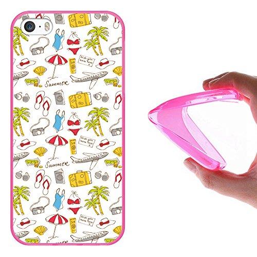 iPhone SE iPhone 5 5S Hülle, WoowCase Handyhülle Silikon für [ iPhone SE iPhone 5 5S ] Indischer Stil mit Elefanten-Muster Handytasche Handy Cover Case Schutzhülle Flexible TPU - Schwarz Housse Gel iPhone SE iPhone 5 5S Rosa D0078