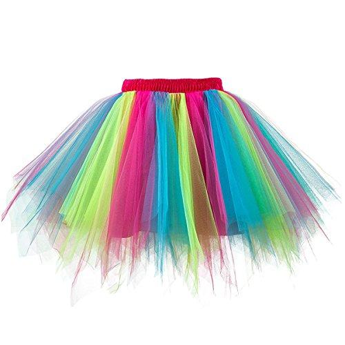 MuseverBrand 50er Vintage Ballet Blase Firt Tulle Petticoat Puffy Tutu Rainbow XX-Large/XXX-Large