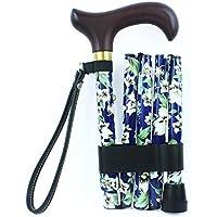 NRS Healthcare Blue Floral Morris Folding Walking Stick (Eligible for VAT relief in the UK)
