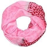 CASPAR Damen Loop/Schal/Schlauchschal mit Leo/Herzen/Blumen Print - viele Farben - SC287, Farbe:pink
