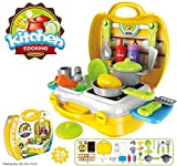 #8: Magnifico™ Pieces Kitchen Set Pretend Play Toys for Girls with Suitcase Carry Case, Yellow Color