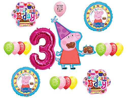 Peppa Pig 3rd Birthday Party Balloon Decoration Kit by Guaranteeing100percentnowTM