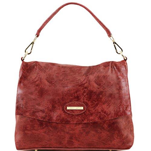 Tuscany Leather - TL Bag - Borsa a mano in pelle effetto invecchiato - TL141637 (Blu scuro) Bordeaux