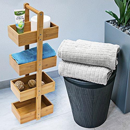 Relaxdays Bambus Badregal H x B x T: 75 x 25 x 18 cm Praktisches  Badezimmerregal als Ablageständer mit 4 Körben als Bambus-Butler Korbregal  aus ...