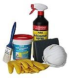 Pufas Anti Schimmel Set, Schimmelentferner Spray 1L, Anti Schimmel Farbe 750 ml, 5 x Mundschutz, Handschuhe, Schwamm, Pinsel, Infoheft