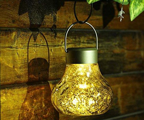 Licht-kristall-suspension (Solarleuchten Garten LED Glas, Kunststoff Energieeffiziente Umweltfreundliche Wasserdicht für Außen / Landscape / Outdoor Zaun Stimmungslampe Suspension Hängende Dekorative Leuchten warmes Licht(IP65))