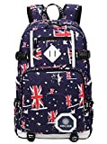 Emmala Adolescent Garçons Impression Bookbag Tissu Oxford Graffiti School Sac À Dos Voyage Léger (Color : Blau (Union Jack-Graffiti))