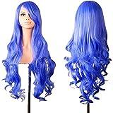 Hrph 80 CM Anime Pelucas de Cosplay del traje largo azul rizado ondulado resistente al calor de cabello sintético