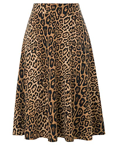 Damen Stretchy A-Linie Rock mit hoher Taille Leopardenmuster Medium -