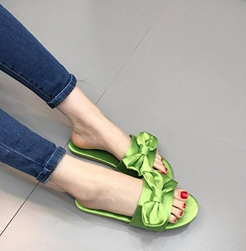 OL Chaussons décontractés Satin Open Toe Bow Tie Casual Chaussures Vintage Antidérapant UE Taille 35-39 Green