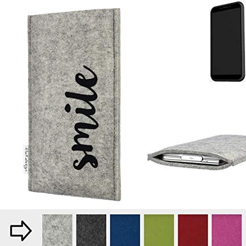 flat.design Handy Hülle FARO für Shift Shift6mq personalisierbare Handytasche Filz Tasche Case Smile fair