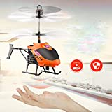 Lishy New Flying Mini RC Infraed Induction Helicopter Aircraft Remote Control Flashing Light Toys For Kids and Adults (Orange)
