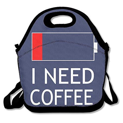 But First I Need Kaffeebraun wiederverwendbare Picknicktasche mit Reißverschluss, für Büro, tragbare Brotdose, Kühltasche für die Schule von Wincan für Frauen, Erwachsene, Jungen und Mädchen