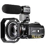 Camcorder 4K ORDRO 3.1 Zoll IPS-Touchscreen Video Camera 4K UHD IR Nachtsicht WiFi 1080P 60FPS Digitale Videokamera 30X Digitalzoom Camcorder mit Mikrofon und Weitwinkelobjektiv