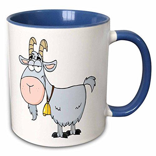 3dRose Mug_118516_6 Billy Goat Funny Animal Cartoon Keramiktasse, Keramik, blau/weiß