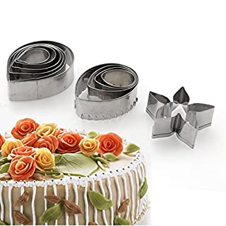 A-SZCXTOP Sugarcraft & Cake Decorating Cutters Stainless Steel Rose Petals Cutters Set of 11PCS with Petals Calyx Leaves Perfect for Birthday Wedding Cakes and Sugarcraft