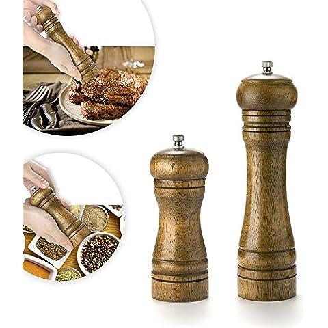 FOXAS® 2 piezas (8-inch& 5-inch) Pimienta roble molino de sal molino molino de especias con mecanismo de cerámica