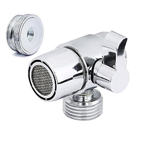 Diverter Valve (M22 X M24), JTDEAL Premium Alloy Shower Diverter Valve for Kitchen or Bathroom Sink Faucet Mental Adapter Single Handle Polished Chrome