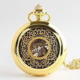 GXS Squisito piccolo orologio da tasca floreale / capovolgere meccanico / guardare indietro attraverso l'ago cavo fiore classico tavolo Tuo