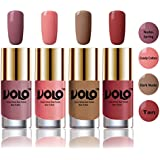 Volo HD Colors High-Shine Long Lasting Non Toxic Professional Nail Polish Set of 4 (Nudes Spring, Candy Cotton, Dark Nude and Tan)