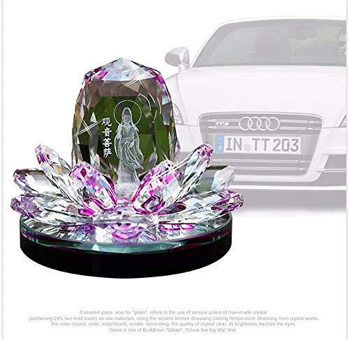Kristall Lotus Blume Figuren Parfüm Flasche Feng Shui Auto Dekorative Glas Handwerk Duft Maschine Aroma im Auto (?) Kunsthandwerk (Color : Purple) - Kristall Parfüm Duft Flasche