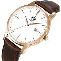 AIBI Men's Waterproof Rose Gold Ultra-thin Case Analogue Quartz Wrist watch with Date Function